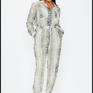 Missguided Plus Size Snake Print Utility Jumpsuit